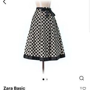 Zara Basic Polka Dot Skirt with Front/Side Tie